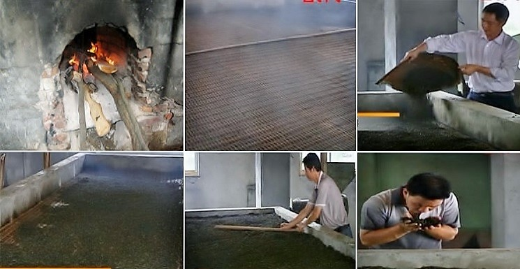 """Roasting on """"Qixing Zhao"""" stove with pine wood fire under a large bamboo bed for the tea leaves"""