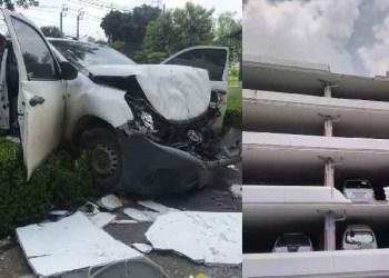 Thaïlande : Un pick-up chute du 6e étage d'un parking, le conducteur sort du véhicule à temps