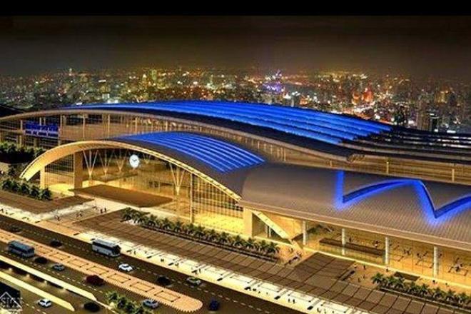 La gare de Bang Sue, ici représentée dans un dessin d'architecte, remplacera Hua Lamphong comme pôle ferroviaire de Bangkok en janvier 2021