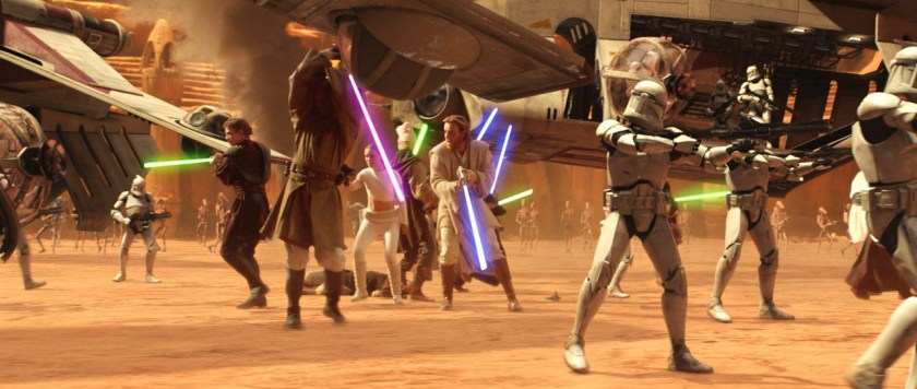 Star Wars Episode II - Attack of the Clones - Battaglia di Geonosis con Cavalieri Jedi, Padmé Amidala, cloni, droidi