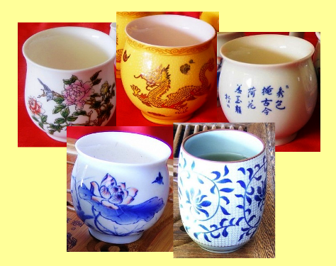Teacups, Tea Cups at Siam Tea Shop, Origin: Taiwan, Collage