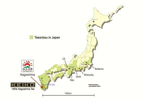 Map of centers of tea cultivation in Japan