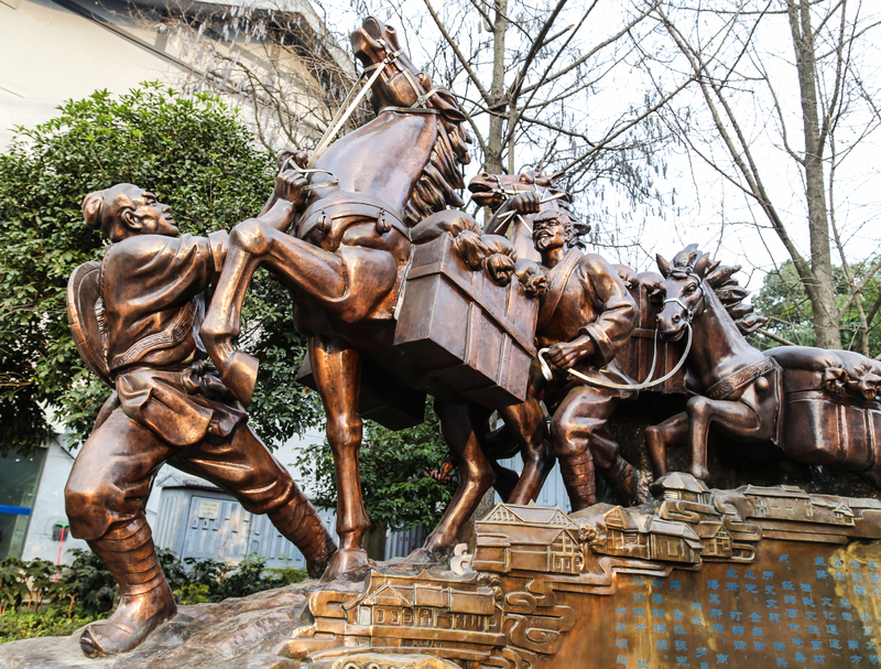 Tea Horse Road memorial sculpture in Chengdu, Sichuan, China
