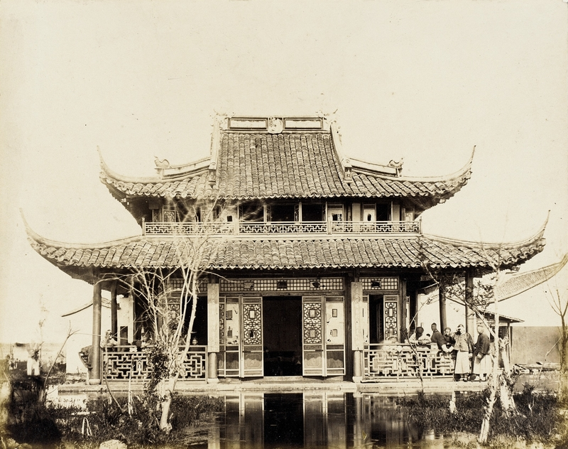 Classic Chinese tea house, built on a pond