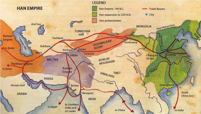 Trade routes of the ancient Silk Road
