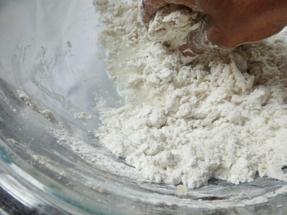 mixing flour for dumpling