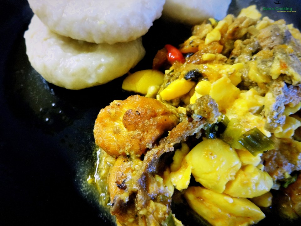 brown stew chicken with ackee