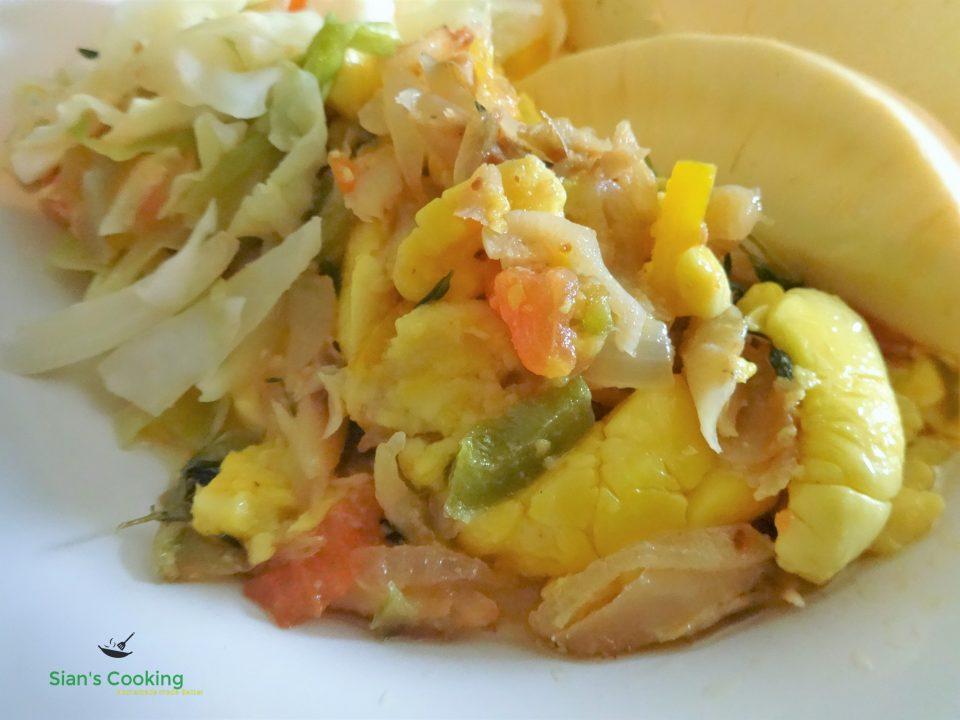 Ackee & saltfish with roast breadfruit