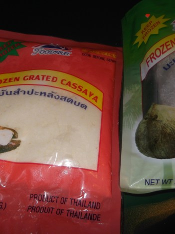 Packaged grated cassava and coconut
