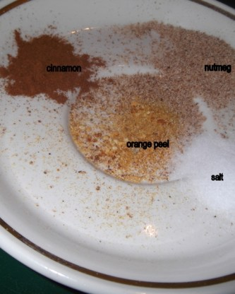 Spice plate. cinnamon, nutmeg, grated orange peel, and salt