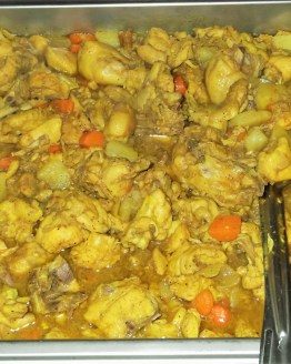 Pan of curry chicken
