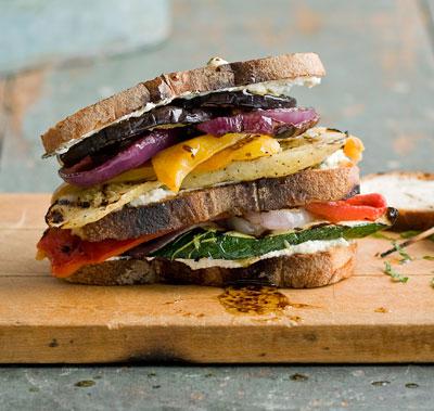 Grilled Veggie Sandwich on Olive Loaf