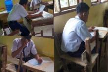 Duduk di Kursi Lapuk, Siswa SMP di Pasaman Barat Tetap Semangat Belajar