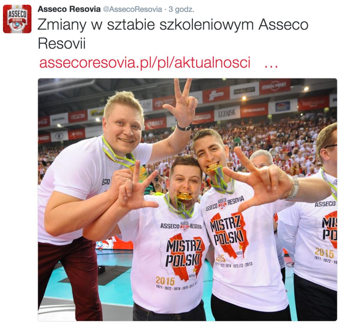 Zmiany w sztabie szkoleniowym Asseco Resovia Rzeszów