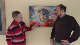 Сергей Тиханов (справа) и его портрет. Фото из личного архива Любавы Бутаковой