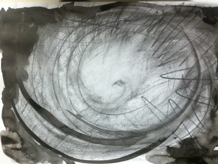 Water soluble graphite, wet brush and indian ink