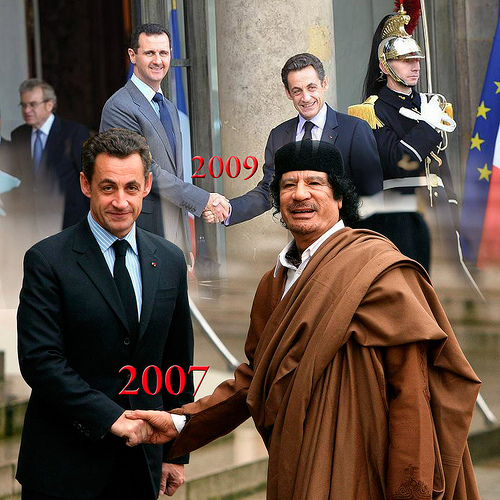 sarkozy gaddafi photo