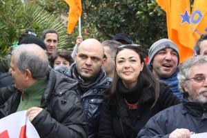La parlamentare Valentina Zafarana alla manifestazione del 14 febbraio scorso