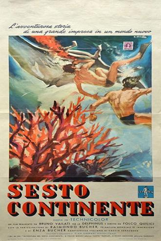Locandina del film Sesto Continente (1954)(Francesco Alliata Eolie 1946 riprese subacquee)