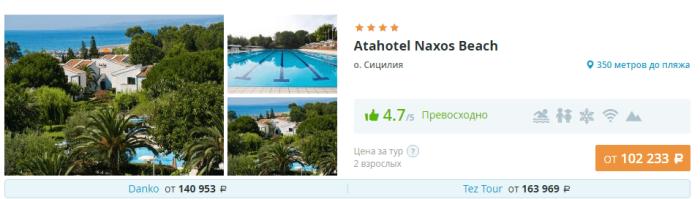 Туры на Сицилию из Москвы Atahotel Naxos Beach