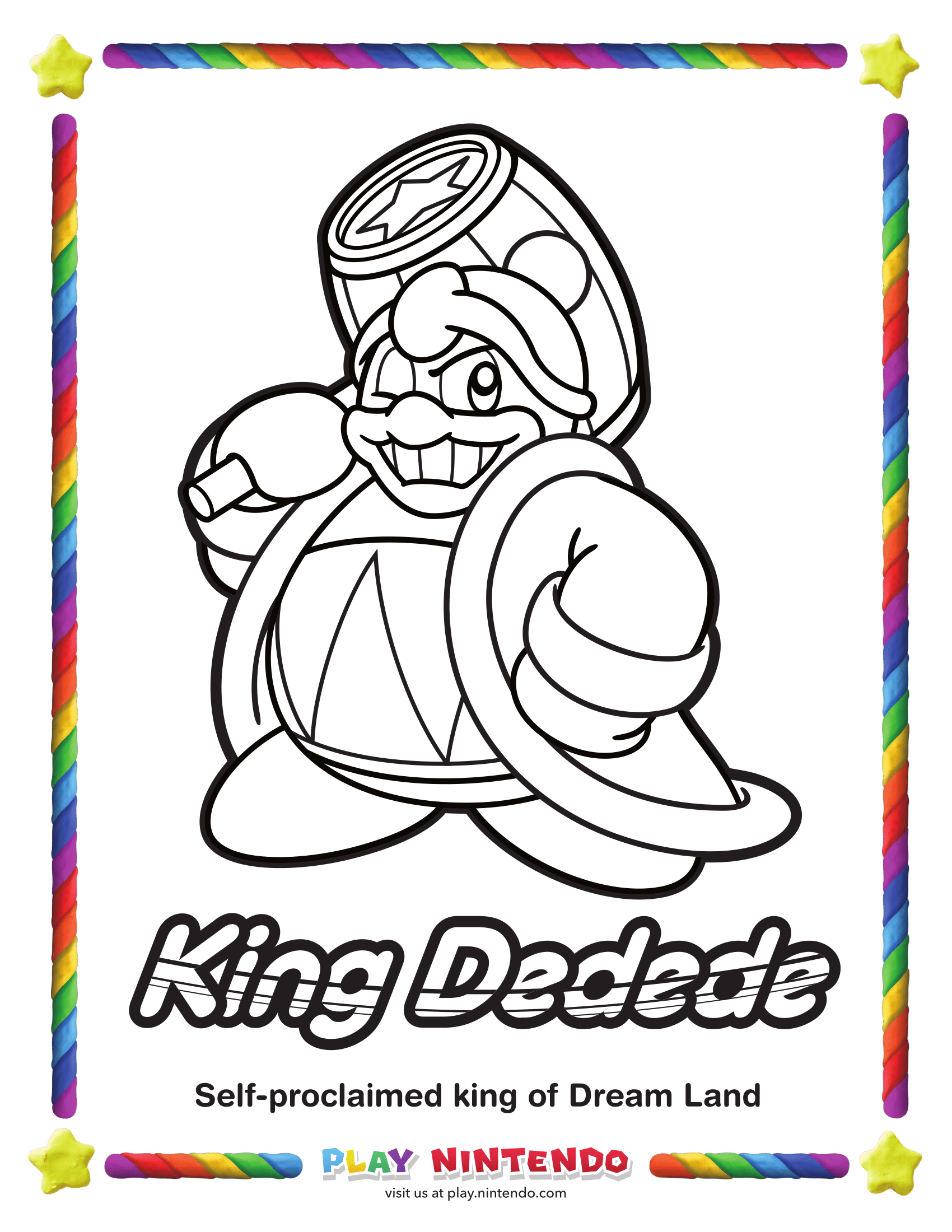 Kirby Coloring Page 25th Anniversary 3