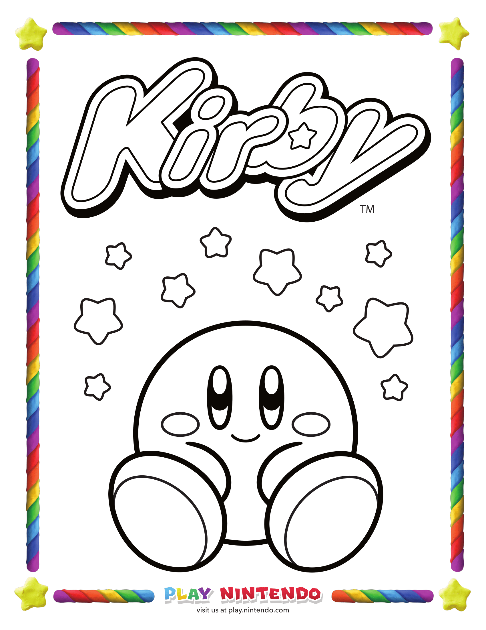 Kirby Coloring Page 25th Anniversary 5 My Nintendo News