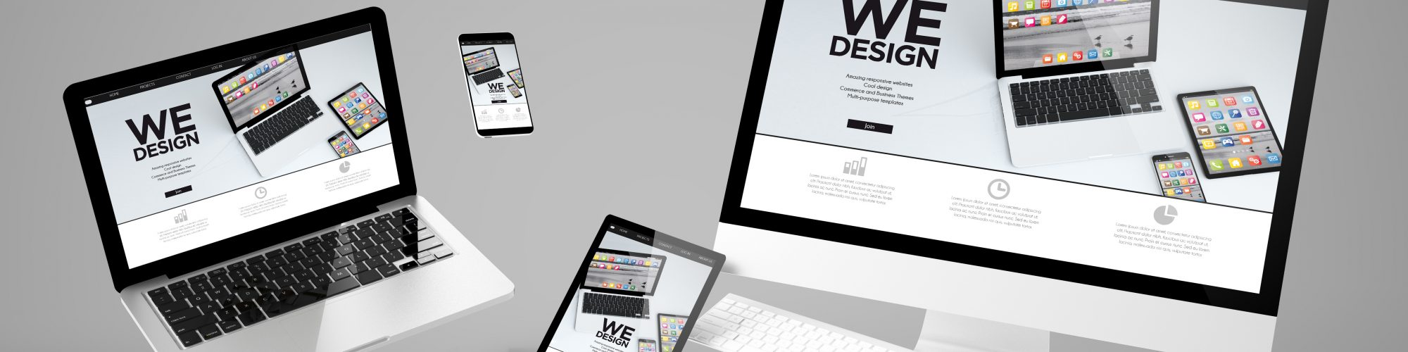 flying devices with we design website responsive design 3d rendering