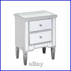 gr8 home wooden grey mirrored glass bedside cabinet 2 drawer side table bedroom side bedside tableside bedside table