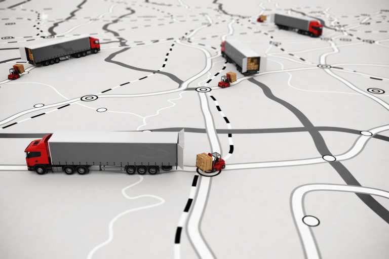 toy trucks on a map
