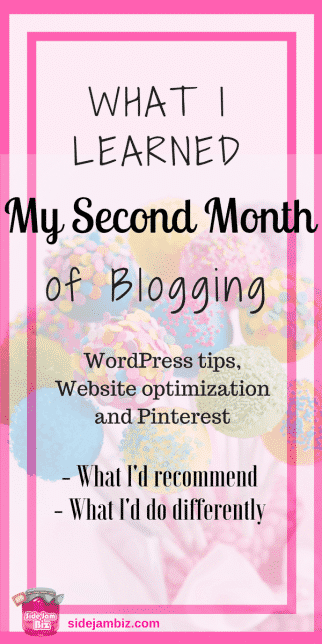 What I Learned My Second Month Blogging -- WordPress Tips, Website Optimization and Pinterest - What I'd recommend, and what I'd do differently