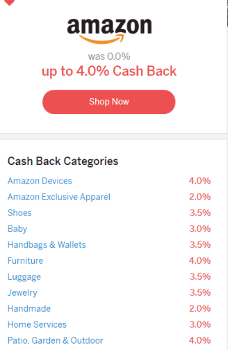 Amazon Cash Back Percentage for Ebates