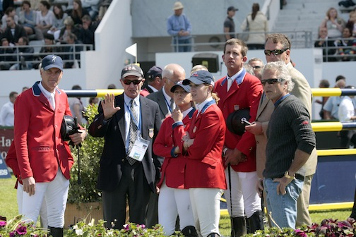 George and his U.S. team during the course walk at the 2011 FEI Nations Cup in La Baule, France. Photo by PhelpsSports.com