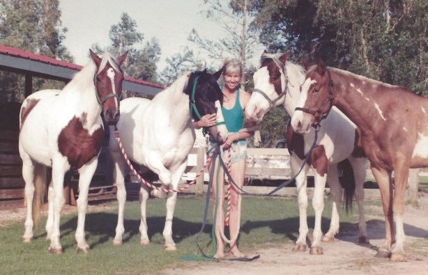 Samantha's string of Paint polo ponies at her In The Pink farm in Wellington, Florida.