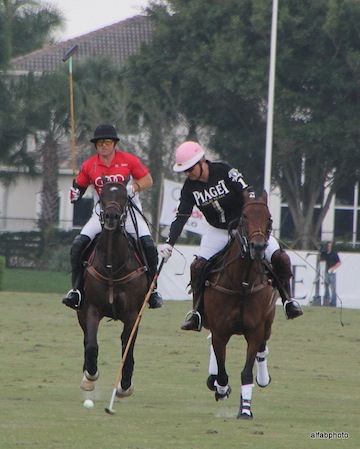 Husband and wife, Marc and Melissa, battle it out on the polo field. Photo by Alan Fabricant