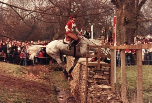 Gray and Kim had a bad accident at Badminton, England, in 1983, when Gray slid in the mud before the jump and stepped on his own foot. Both horse and rider ended up with concussions, but no broken bones. Photo by Michael Milne