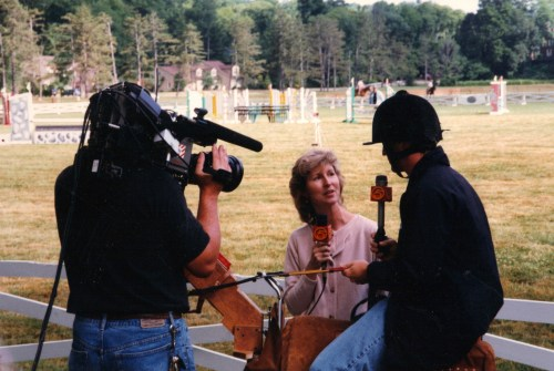 Betty promoting show jumping in 1996.