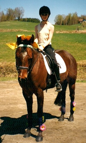 Laura Graves trained Sunny, her first dressage horse, to 4th Level and earned the USDF Bronze Medal. Sunny now lives in Florida at Laura's Crossties Farm LLC. Photo Courtesy of Breckenridge Farm