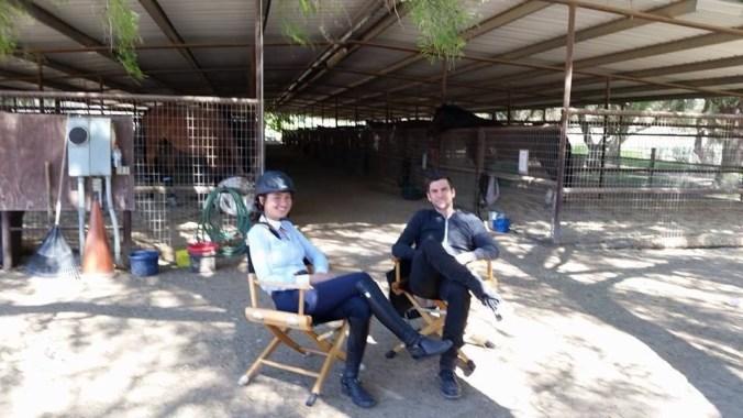 Alex enjoyed joking around on the set of Broken Vows with Wes Bentley. (Photo courtesy of Alex Ladove)