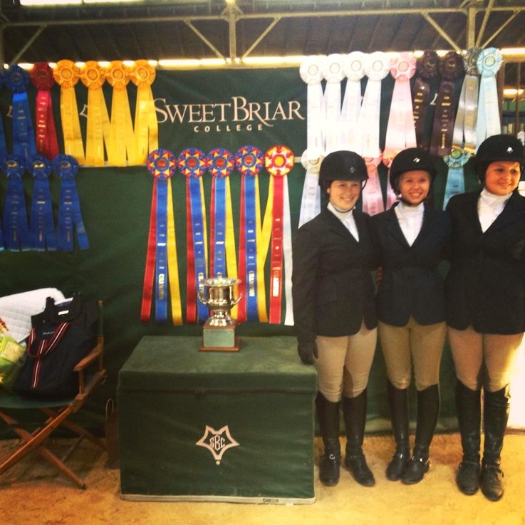 Sweet Briar's Novice team poses with rosettes, tri-colors and trophies. (Photo by Mimi Wroten '93)