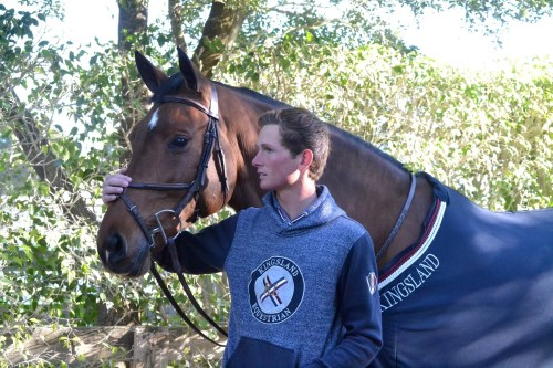 Spencer wearing Kingsland equestrian apparel.