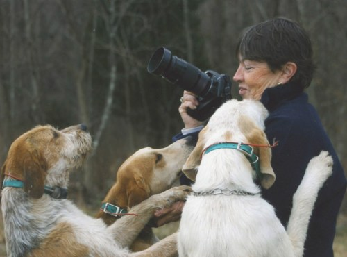 Artist Yvonne Todd enjoys a moment with some hounds.