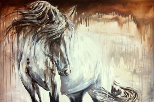 """Grace — 30"""" x 36"""" Acrylic and India ink on canvas, private collection."""
