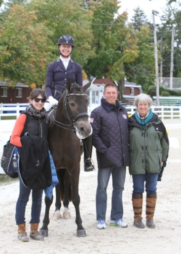 Team Tate: left to right, groom Marina Lemay, JJ and Gideon, JJ's coach Scott Hassler and breeder and owner Pam Liddell.