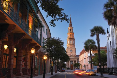 Dusk at the Dock Street Theater in Charleston