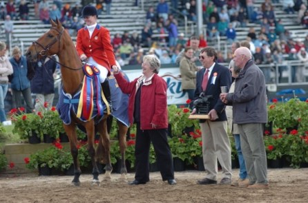 Kim Severson with the breeders of Winsome Adante, an English Thoroughbred, during the awards ceremony at Rolex. At the 2004 Athens Olympics, Kim won the individual silver medal and team bronze with Winsome Adante, known as Dan. Photo by Michelle C. Dunn