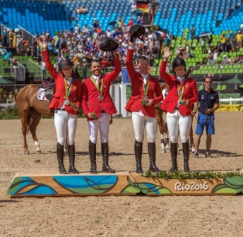 Show Jumping Team Medals: The U.S. Show Jumping Team took home the silver medal. From the left: Lucy Davis, Kent Farrington, McLain Ward and Beezie Madden.
