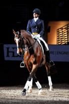 Missy Fladland performing a halfpass during the World Cup. The FEI World Cup™ Dressage Final was first held in 1986 and features the world's best dressage horses and riders.