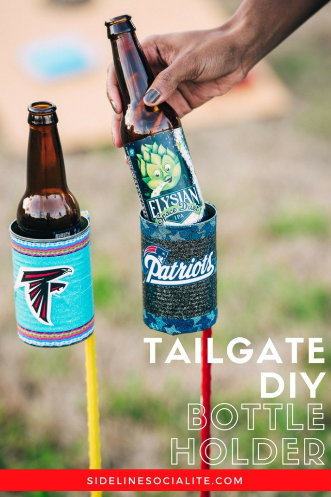 DIY tailgate bottle holder