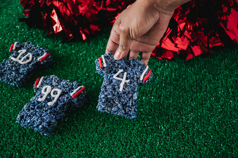 Game Day Treats: Texans Football Jersey Rice Crispy Treats