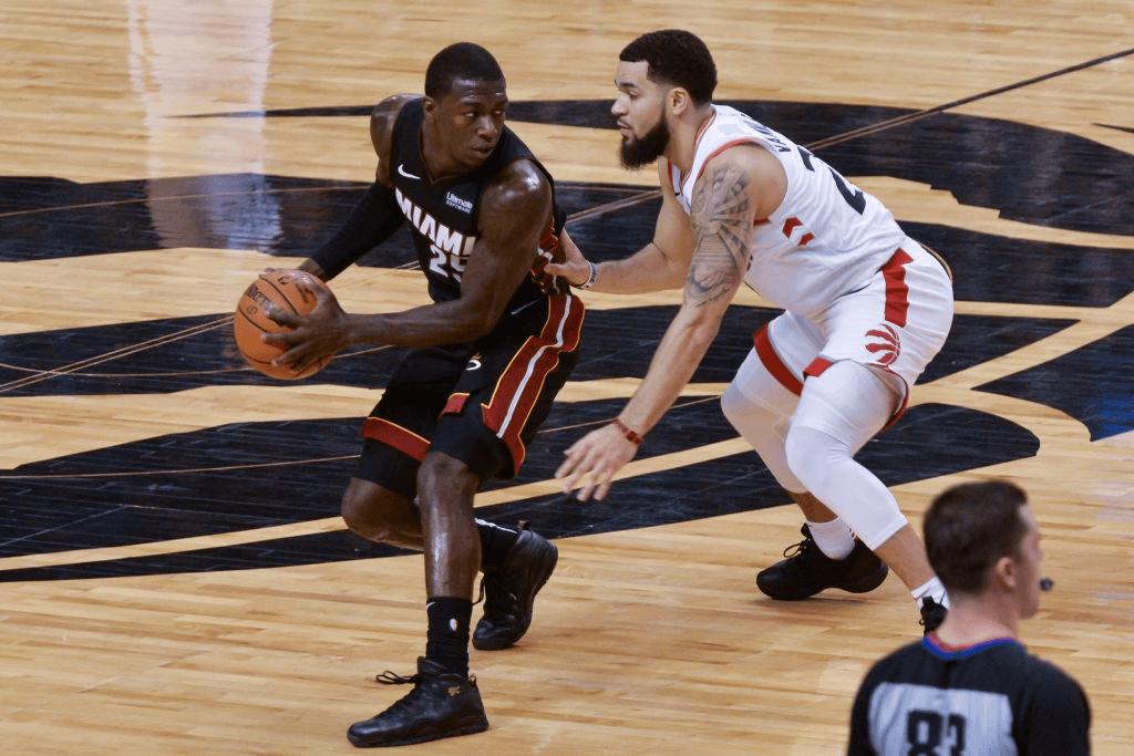 Kendrick Nunn #25 of the Miami Heat handles the ball during the Toronto Raptors vs Miami Heat NBA regular season game at Scotiabank Arena on December 03, 2019, in Toronto, Canada (Miami Heat won 121-110)
